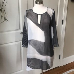 W By Worth Sheer Black, Cream and Gray Tunic